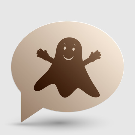 ghastly: Ghost isolated sign. Brown gradient icon on bubble with shadow.