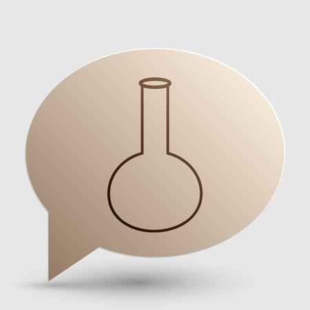 hipotesis: Tubo. signo de vidrio de laboratorio. gradiente icono marrón en la burbuja con sombra.