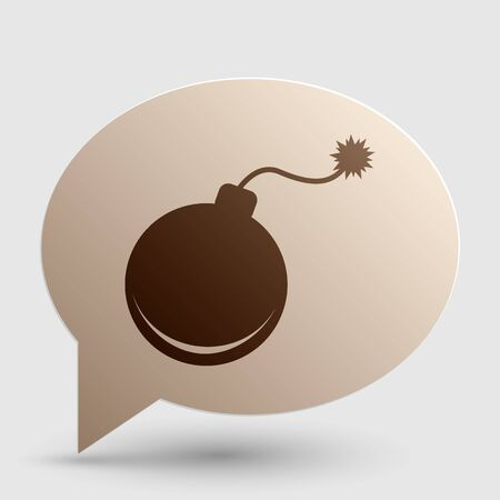 Bomb sign illustration. Brown gradient icon on bubble with shadow.