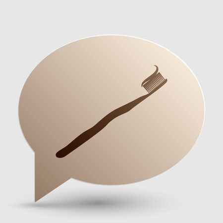 portion: Toothbrush with applied toothpaste portion. Brown gradient icon on bubble with shadow.