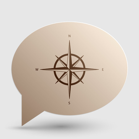 rosa vientos: Wind rose sign. Brown gradient icon on bubble with shadow.