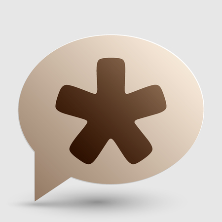 Asterisk star sign. Brown gradient icon on bubble with shadow.