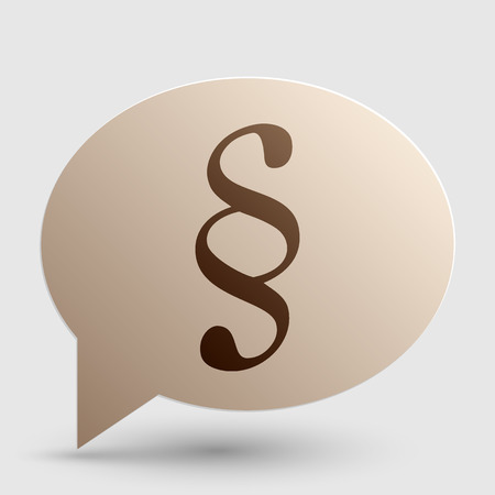 paragraph: Paragraph sign illustration. Brown gradient icon on bubble with shadow.