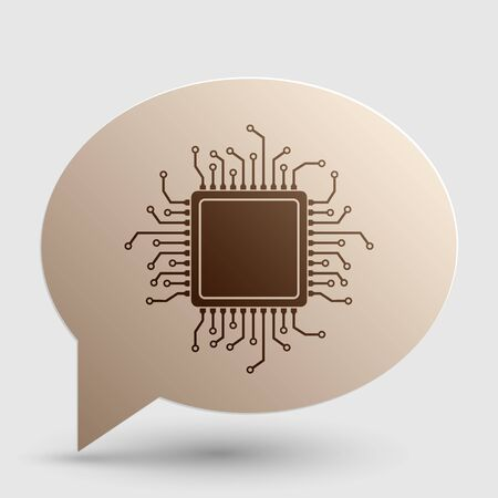 microprocessor: CPU Microprocessor illustration. Brown gradient icon on bubble with shadow.