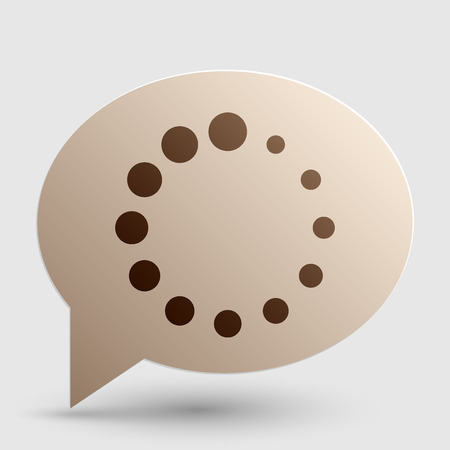Circular loading sign. Brown gradient icon on bubble with shadow.