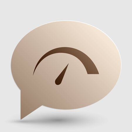 tariff: Speedometer sign illustration. Brown gradient icon on bubble with shadow.