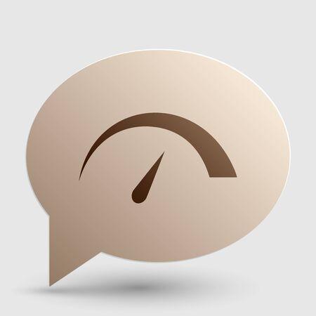 Speedometer Zeichen Illustration. Brown Gradient-Symbol auf Blase mit Schatten. Vektorgrafik