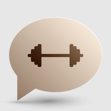 Dumbbell weights sign. Brown gradient icon on bubble with shadow.