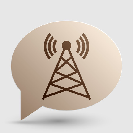 tv tower: Antenna sign illustration. Brown gradient icon on bubble with shadow.