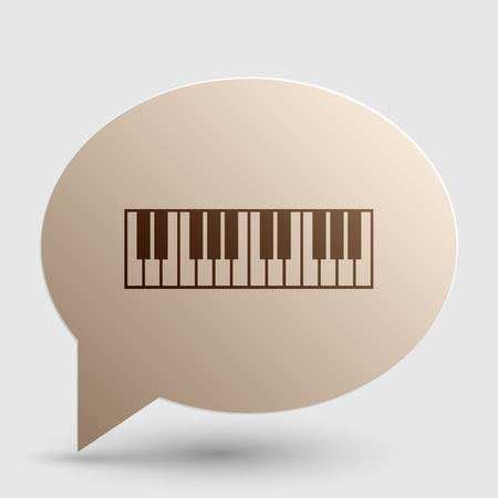 clavier: Piano Keyboard sign. Brown gradient icon on bubble with shadow.