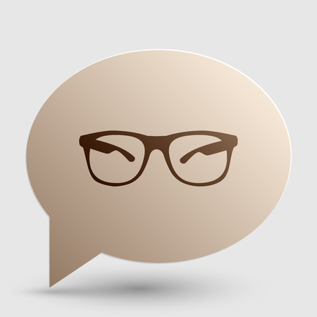 tinted glasses: Sunglasses sign illustration. Brown gradient icon on bubble with shadow.