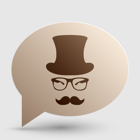 Hipster accessories design. Brown gradient icon on bubble with shadow. Illustration