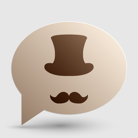 masculinity: Hipster accessories design. Brown gradient icon on bubble with shadow. Illustration