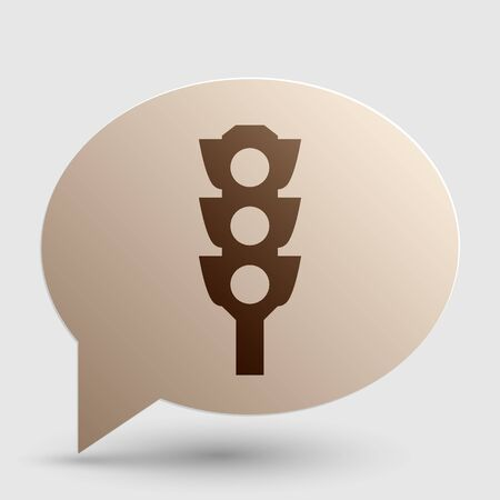allow: Traffic light sign. Brown gradient icon on bubble with shadow.
