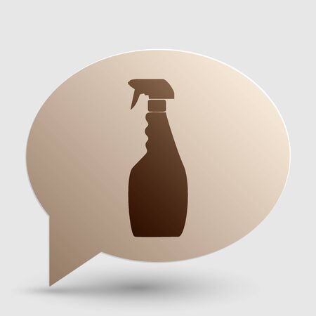 Plastic bottle for cleaning. Brown gradient icon on bubble with shadow.