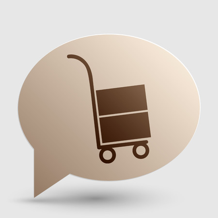 hand truck: Hand truck sign. Brown gradient icon on bubble with shadow.