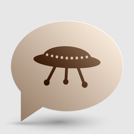 UFO simple sign. Brown gradient icon on bubble with shadow. Illustration