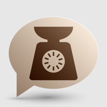 ounce: Kitchen scales sign. Brown gradient icon on bubble with shadow.