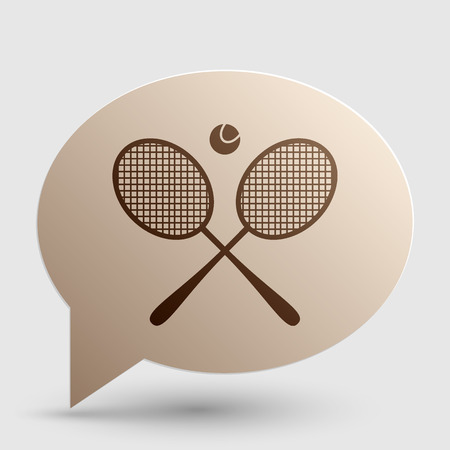 Tennis racket sign. Brown gradient icon on bubble with shadow.