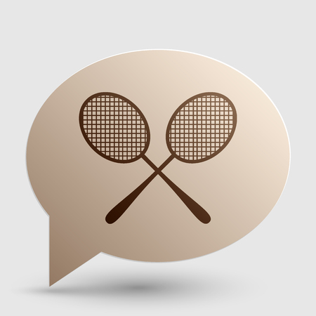 handled: Tennis racquets sign. Brown gradient icon on bubble with shadow.