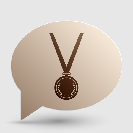 Medal simple sign. Brown gradient icon on bubble with shadow.