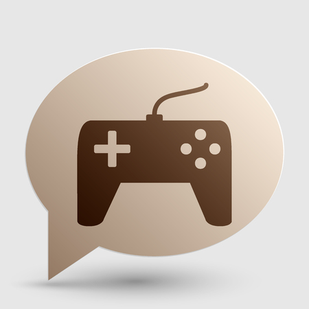 Joystick simple sign. Brown gradient icon on bubble with shadow. Illustration