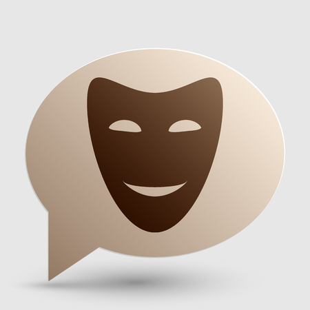 comedy: Comedy theatrical masks. Brown gradient icon on bubble with shadow.