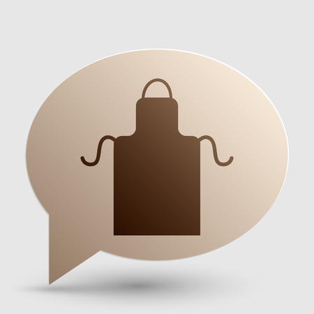 barbecue stove: Apron simple sign. Brown gradient icon on bubble with shadow.