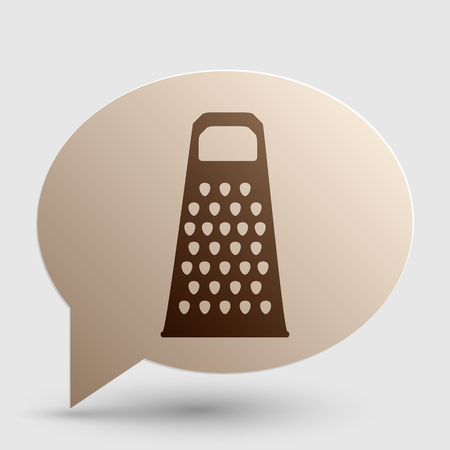 grater: Cheese grater sign. Brown gradient icon on bubble with shadow.