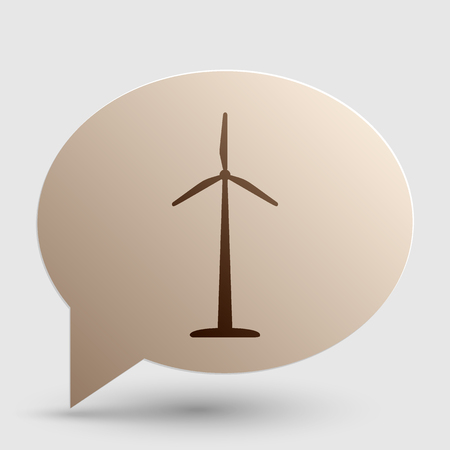 Wind turbine  sign. Brown gradient icon on bubble with shadow. Illustration