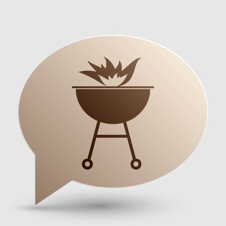 Barbecue with fire sign. Brown gradient icon on bubble with shadow.