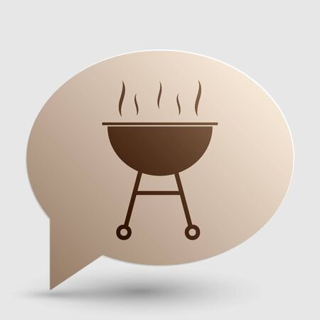 Barbecue simple sign. Brown gradient icon on bubble with shadow.
