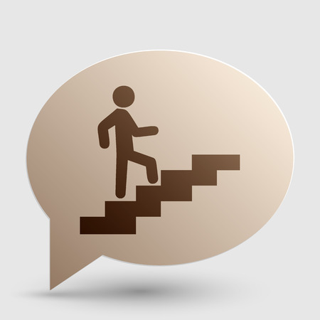 Man on Stairs going up. Brown gradient icon on bubble with shadow. Illustration