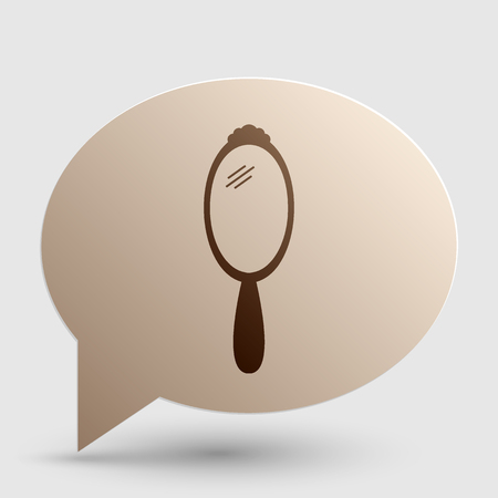 hand mirror: Hand Mirror sign. Brown gradient icon on bubble with shadow.