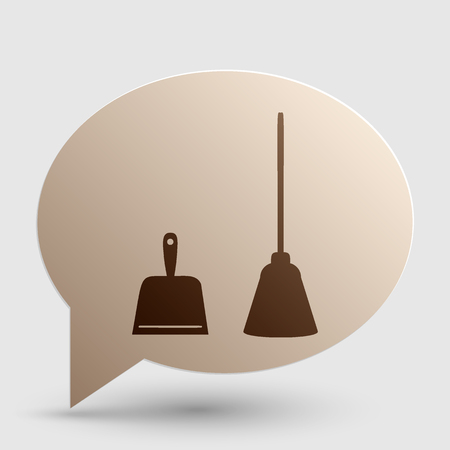 dust pan: Dustpan vector sign. Scoop for cleaning garbage housework dustpan equipment. Brown gradient icon on bubble with shadow. Illustration