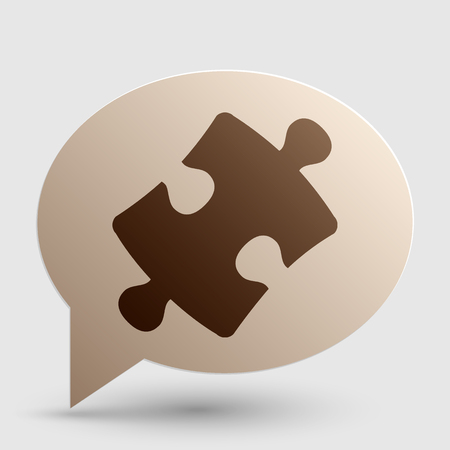 plugin: Puzzle piece sign. Brown gradient icon on bubble with shadow. Illustration
