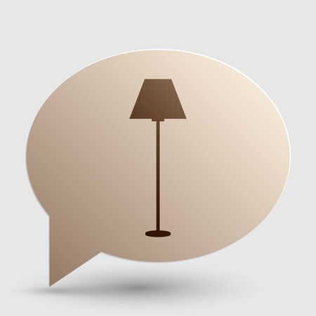 Lamp simple sign. Brown gradient icon on bubble with shadow.