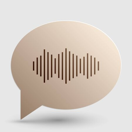 Sound waves icon. Brown gradient icon on bubble with shadow.