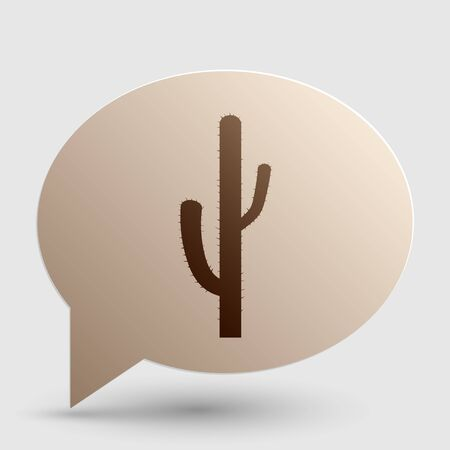 prickle: Cactus simple sign. Brown gradient icon on bubble with shadow.