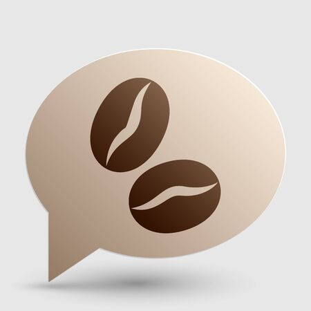 Coffee beans sign. Brown gradient icon on bubble with shadow. Illustration