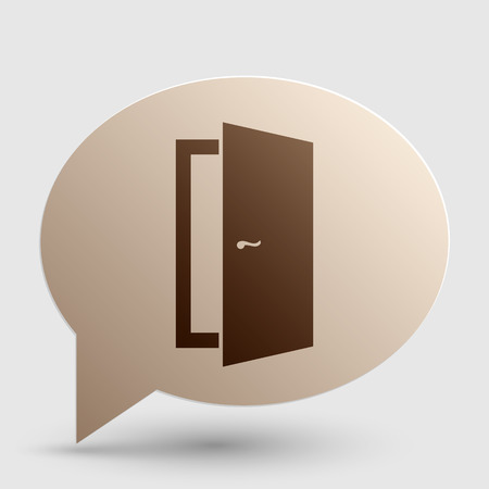 door sign: Door sign illustration. Brown gradient icon on bubble with shadow. Illustration