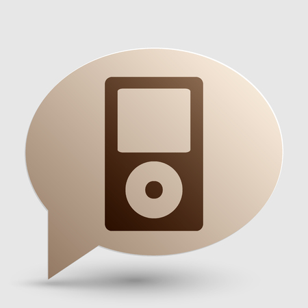 mp: Portable music device. Brown gradient icon on bubble with shadow.