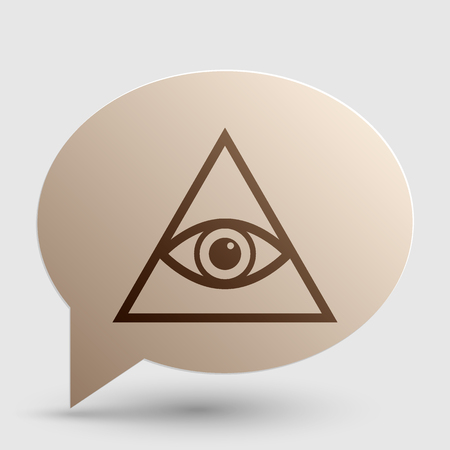 seeing: All seeing eye pyramid symbol. Freemason and spiritual. Brown gradient icon on bubble with shadow. Illustration