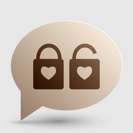 door lock love: lock sign with heart shape. A simple silhouette of the lock. Shape of a heart. Brown gradient icon on bubble with shadow.