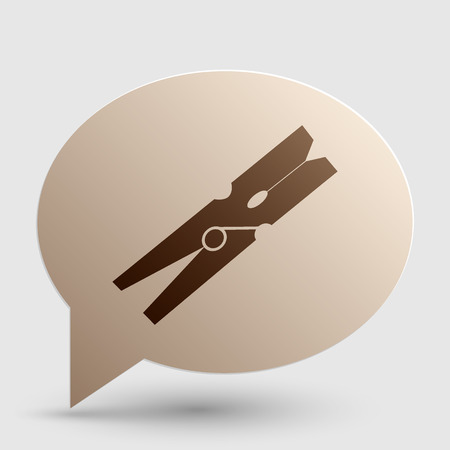 clothespeg: Clothes peg sign. Brown gradient icon on bubble with shadow.