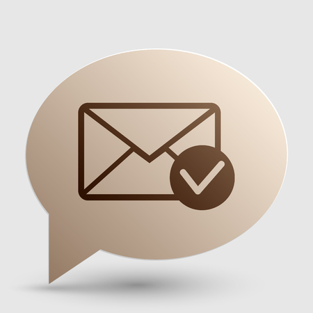 allow: Mail sign illustration with allow mark. Brown gradient icon on bubble with shadow.