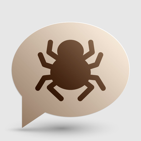 spidery: Spider sign illustration. Brown gradient icon on bubble with shadow.