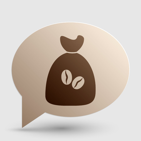 coffee bag: Coffee bag Icon. Coffee bag Vector. Coffee bag Icon Button. Brown gradient icon on bubble with shadow.