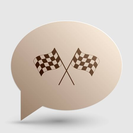 Crossed checkered flags waving in the wind conceptual of motor sport. Brown gradient icon on bubble with shadow.