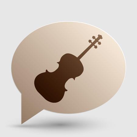 ヴァイオリン記号の図。茶色グラデーション アイコン影とバブル。  イラスト・ベクター素材